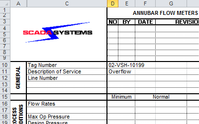 A datasheet generated by Instrument Manager, shown inside Excel