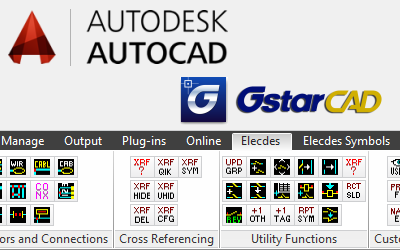 Elecdes AutoCAD ribbon showing electrical functions