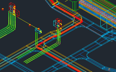 Cable route calculated by Paneldes Raceway software, shown in a raceway network